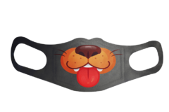 A washable and reusable gray polyester puppy doggy mouth printed cloth face mask with two ear holes by each side